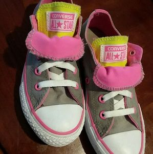 Girls 13 Converse All Star Gray/Pink Sneaker Shoes